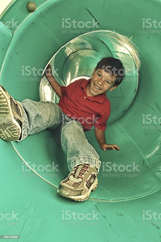 fun through the slide stock photo