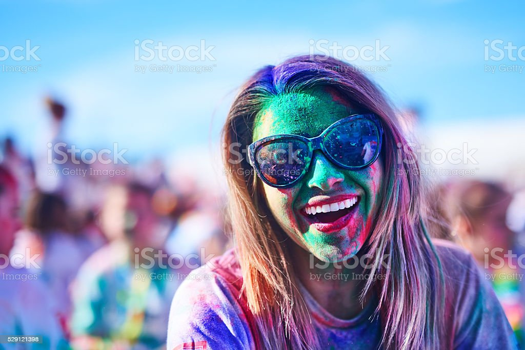 fun time at holi festival stock photo