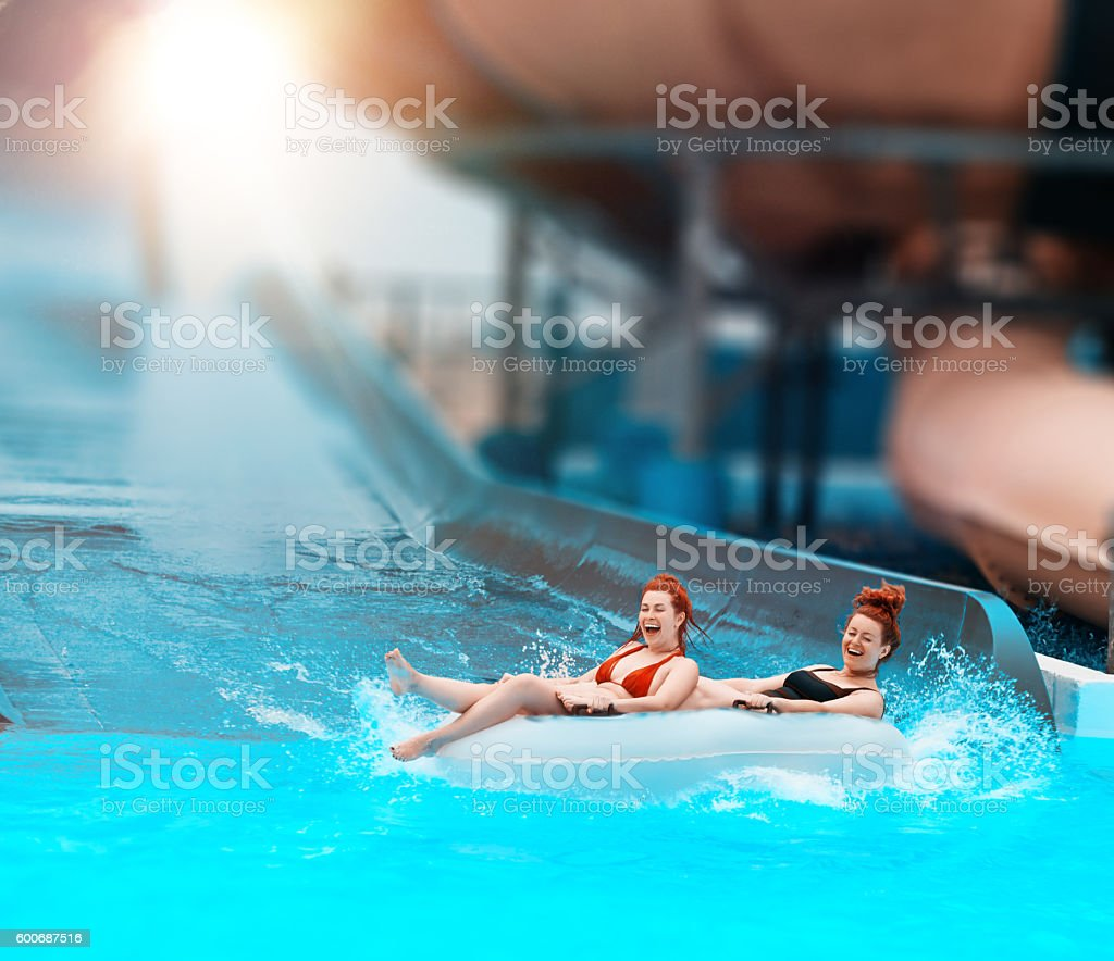 fun time in the water park stock photo