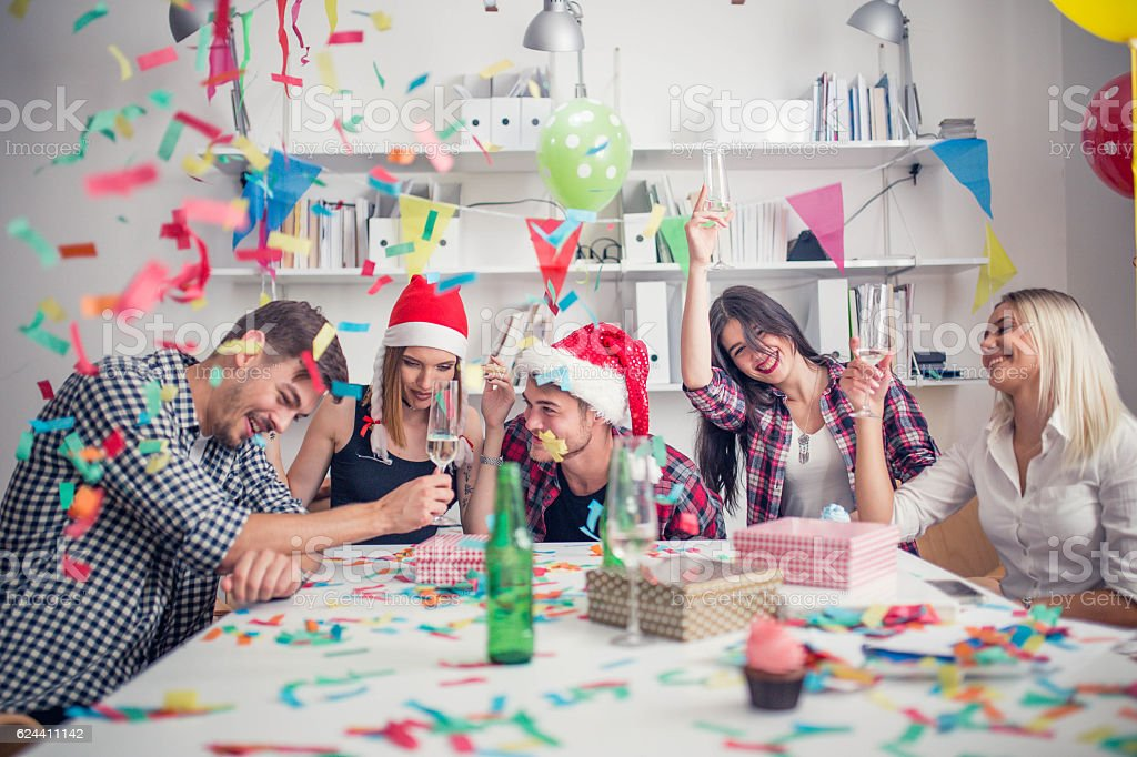 Fun time on a new year's day stock photo