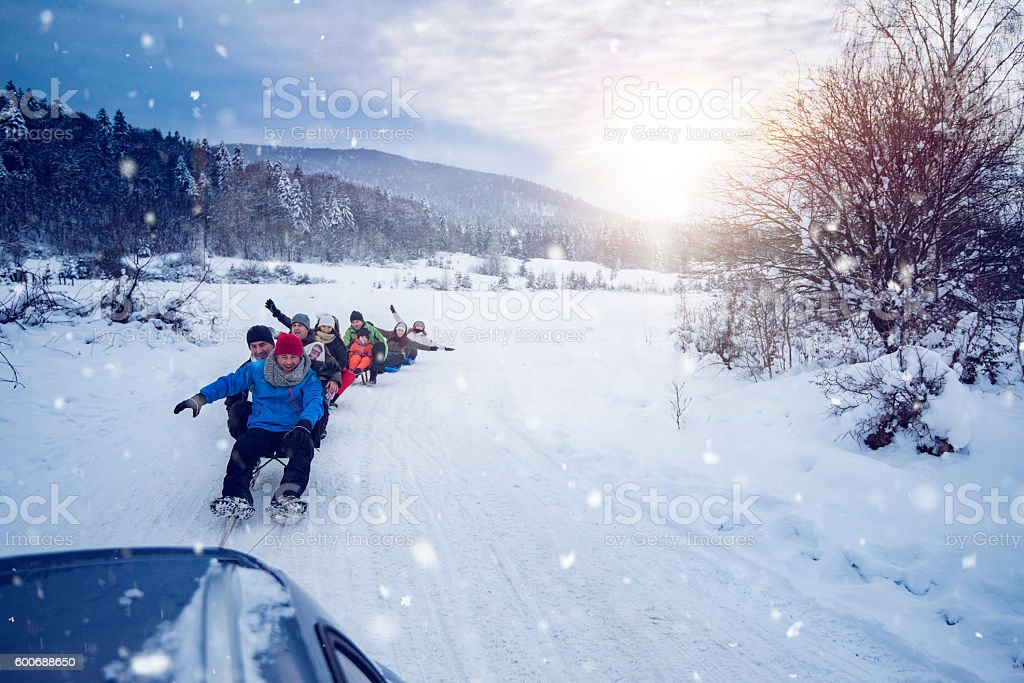 fun time on sled stock photo