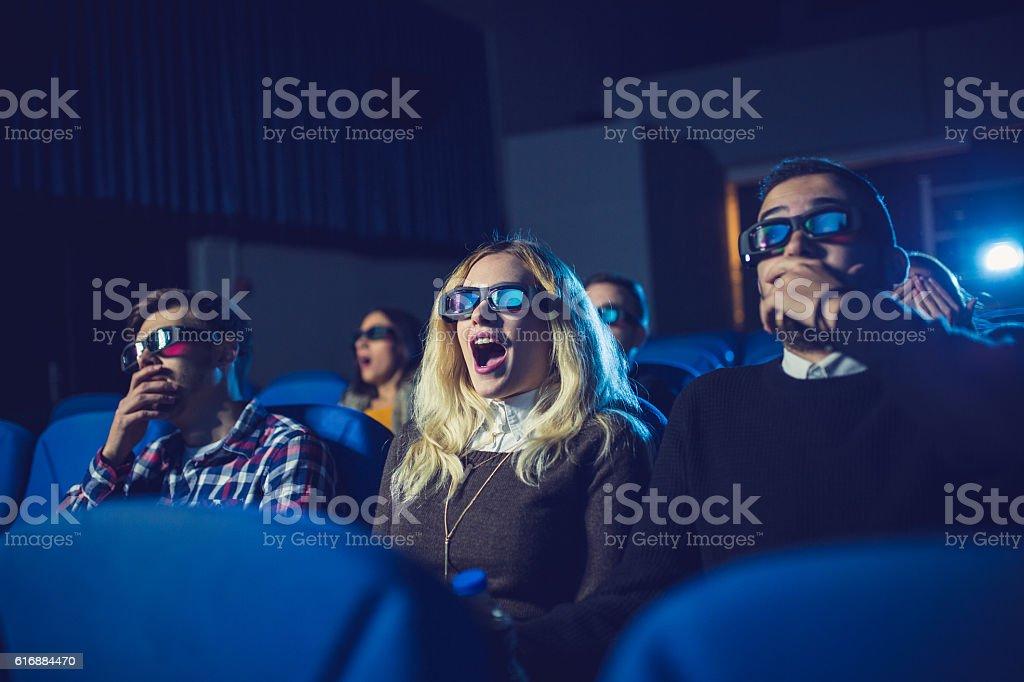 Fun watching a movie stock photo