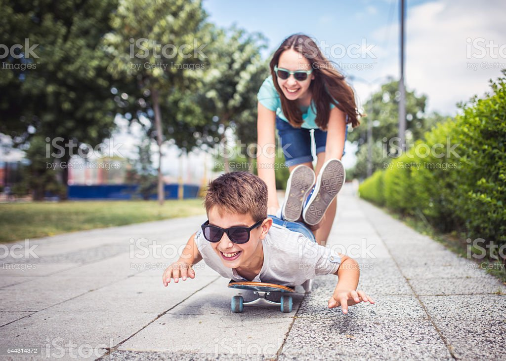 Fun with a skateboard stock photo