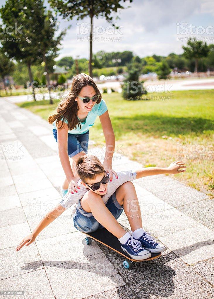 Fun with a skateboard stock photo