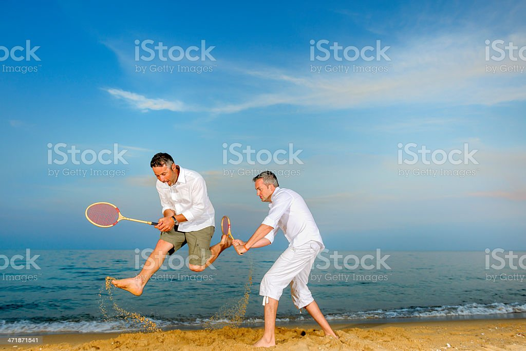 fun with badminton rackets royalty-free stock photo