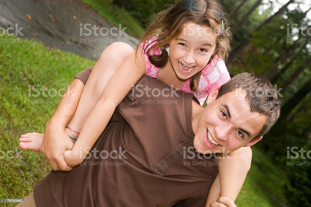 Fun with big brother stock photo