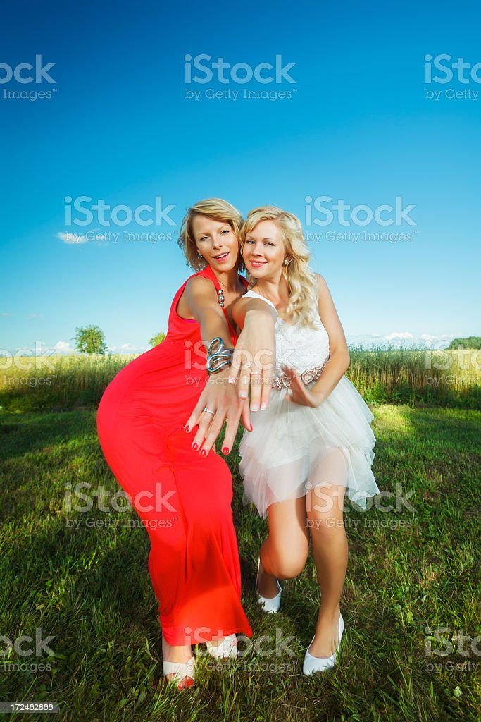 Fun with Bride and Bridesmaid royalty-free stock photo