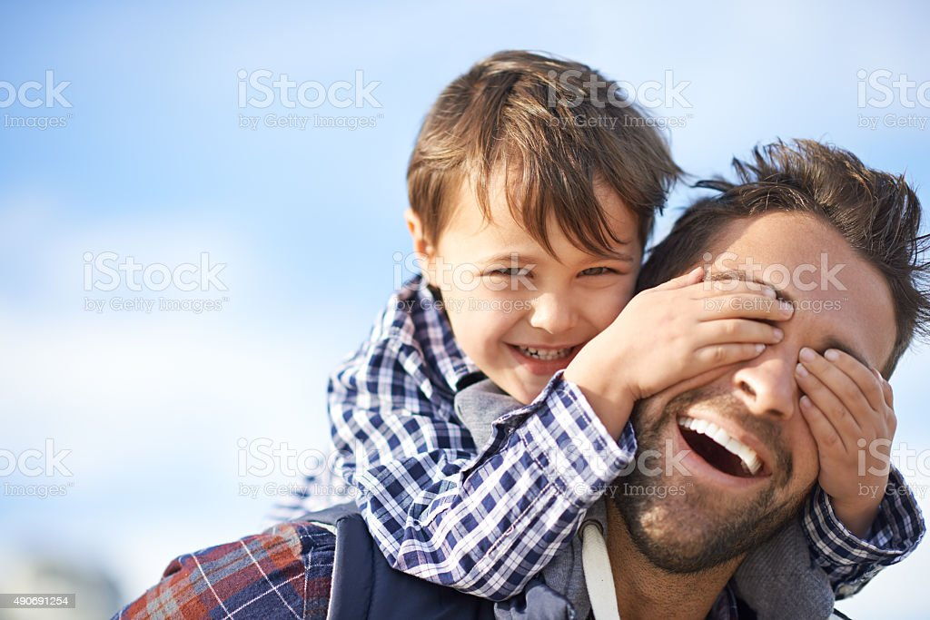 Fun with dad stock photo