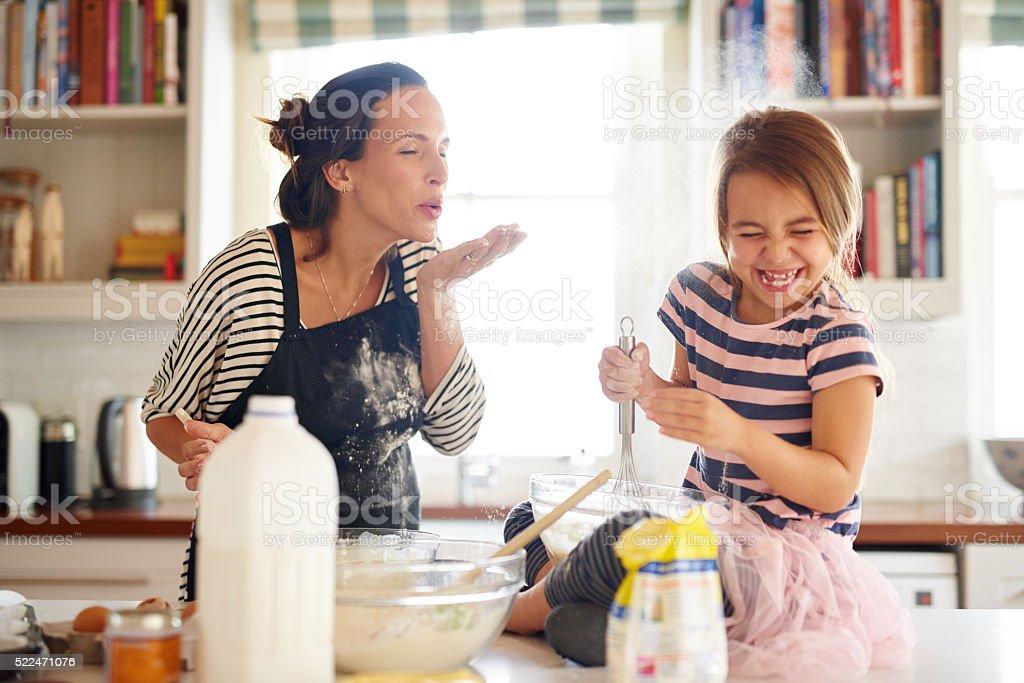 Fun with flour! stock photo