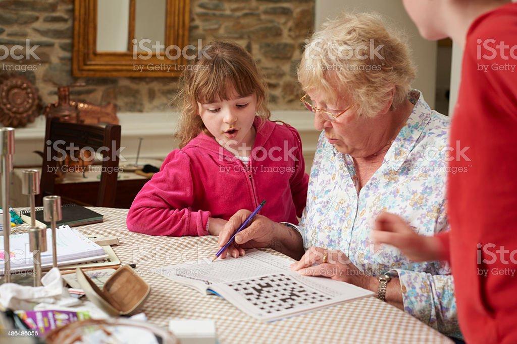 Fun with grandma stock photo