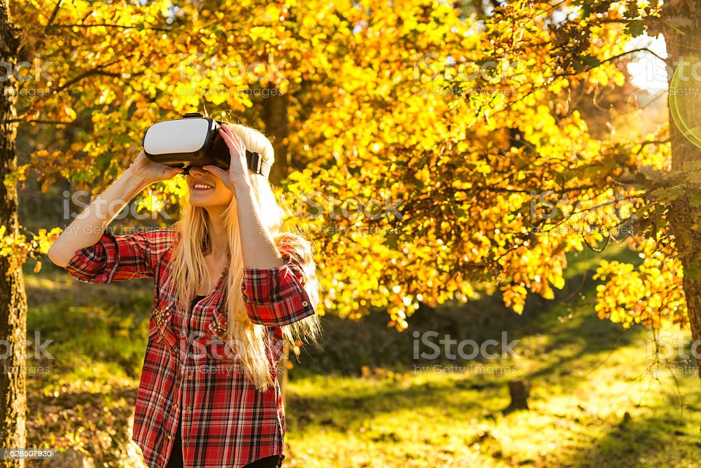 Fun with VR - headset glasses stock photo
