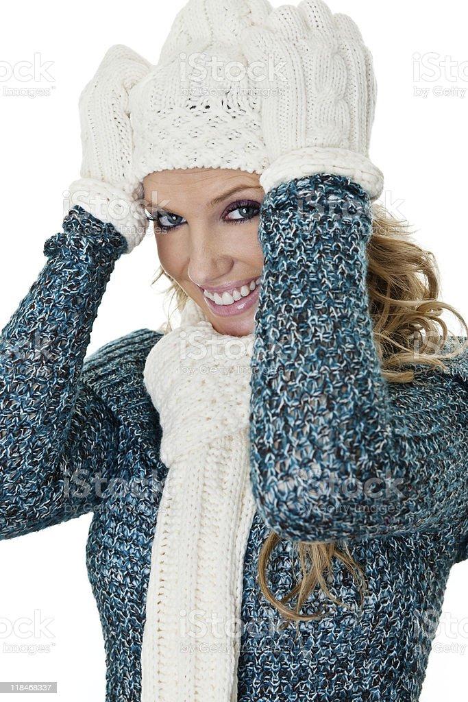 Fun woman wearing winter clothing royalty-free stock photo