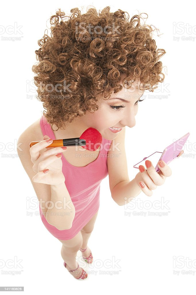 Fun woman with brush for makeup on the white background royalty-free stock photo