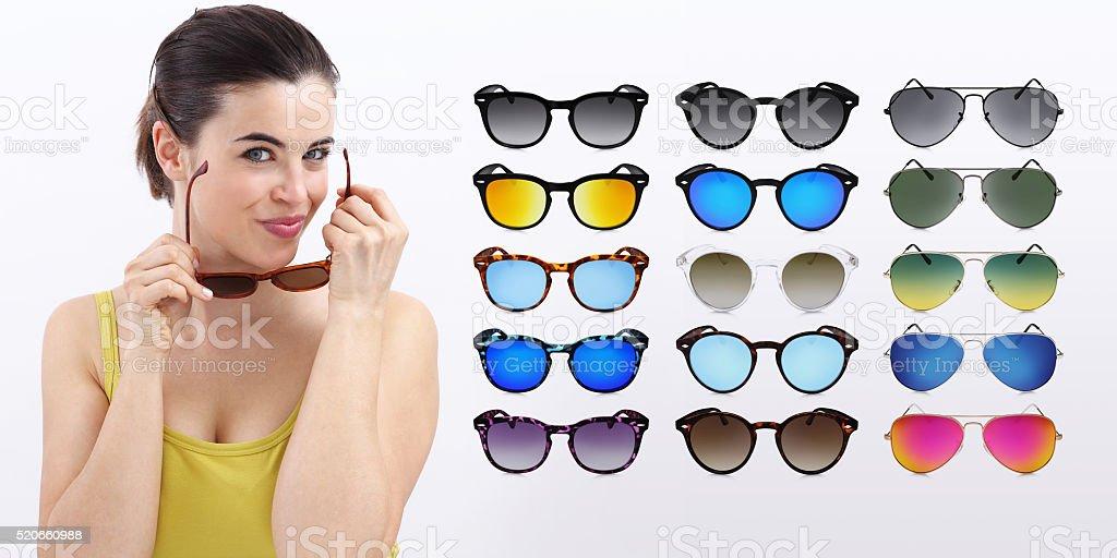 fun woman with sunglasses, sale concept stock photo