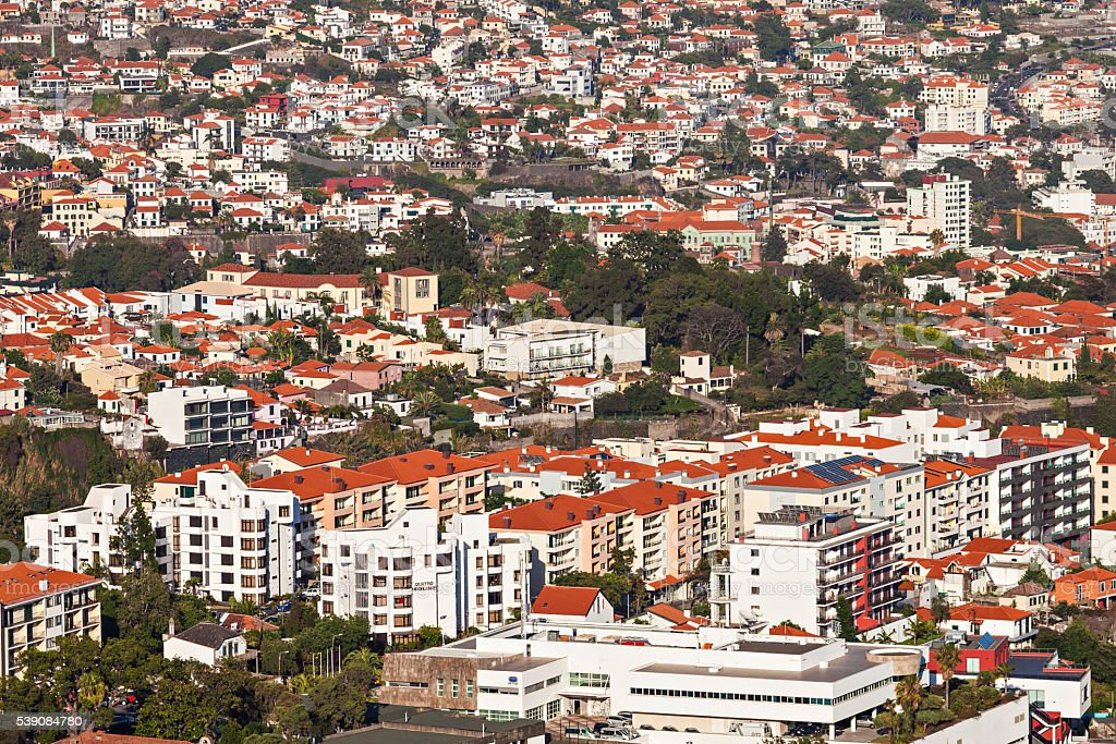 Funchal aerial view stock photo