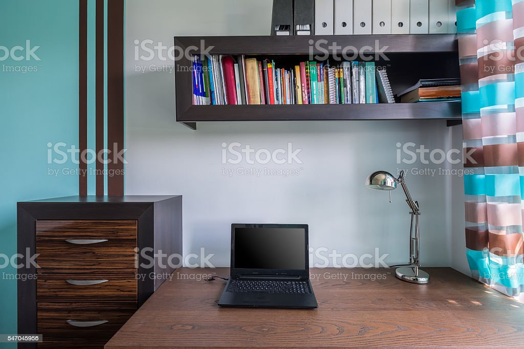 Functional and stylish home workspace stock photo