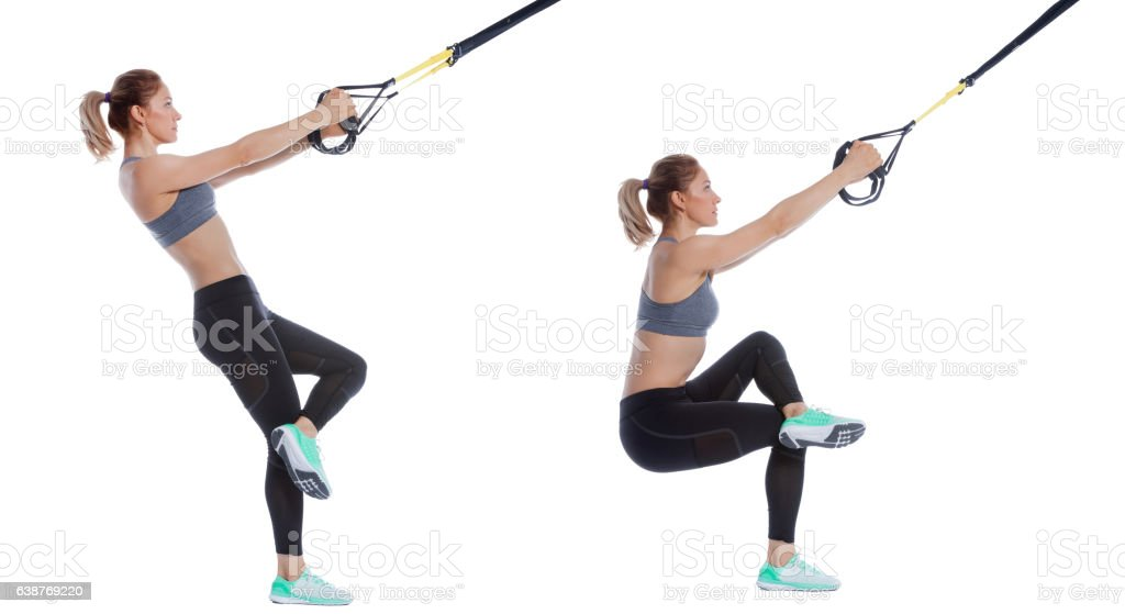 Functional exercise with suspension cable stock photo