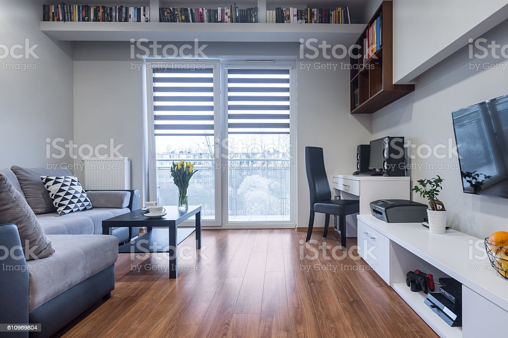 Functional home interior in new style stock photo
