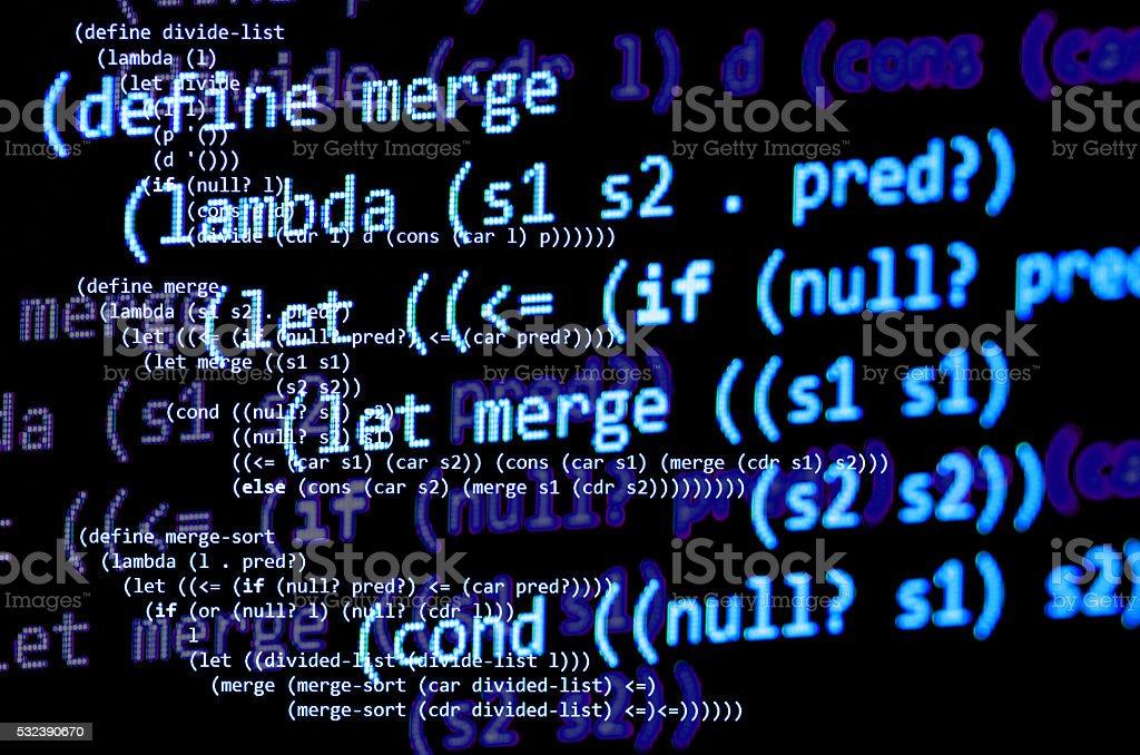 Functional programming code -  declarative paradigm, blue color stock photo