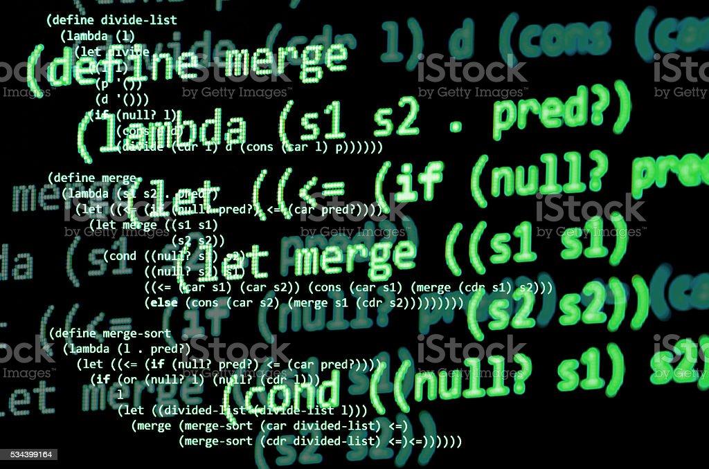 Functional programming code -  declarative paradigm, green color stock photo