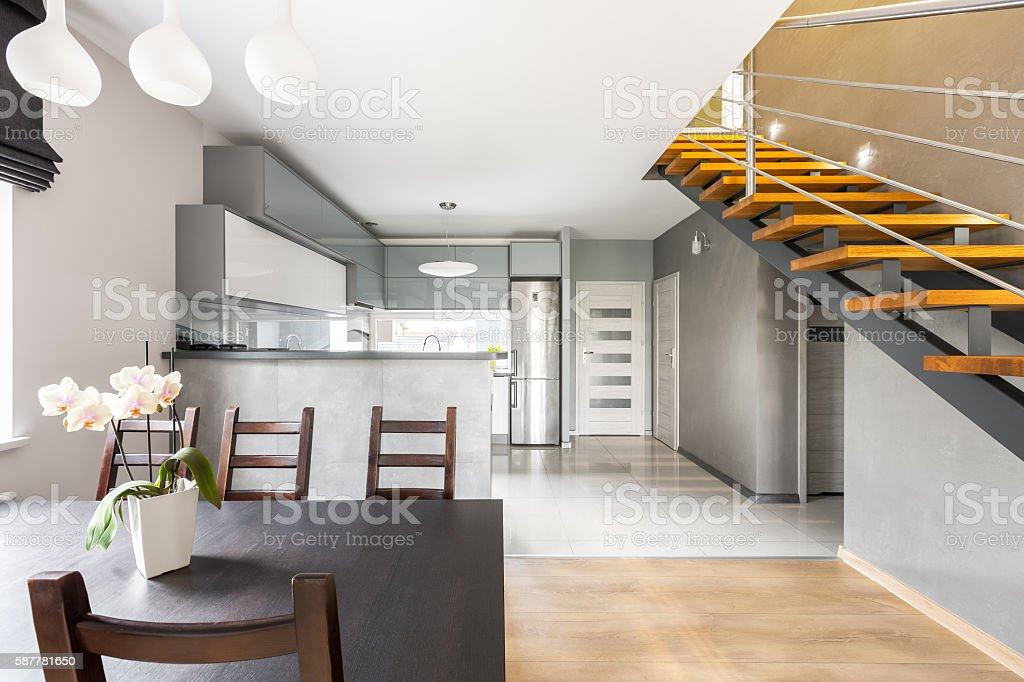 Functional villa interior with staircase idea stock photo