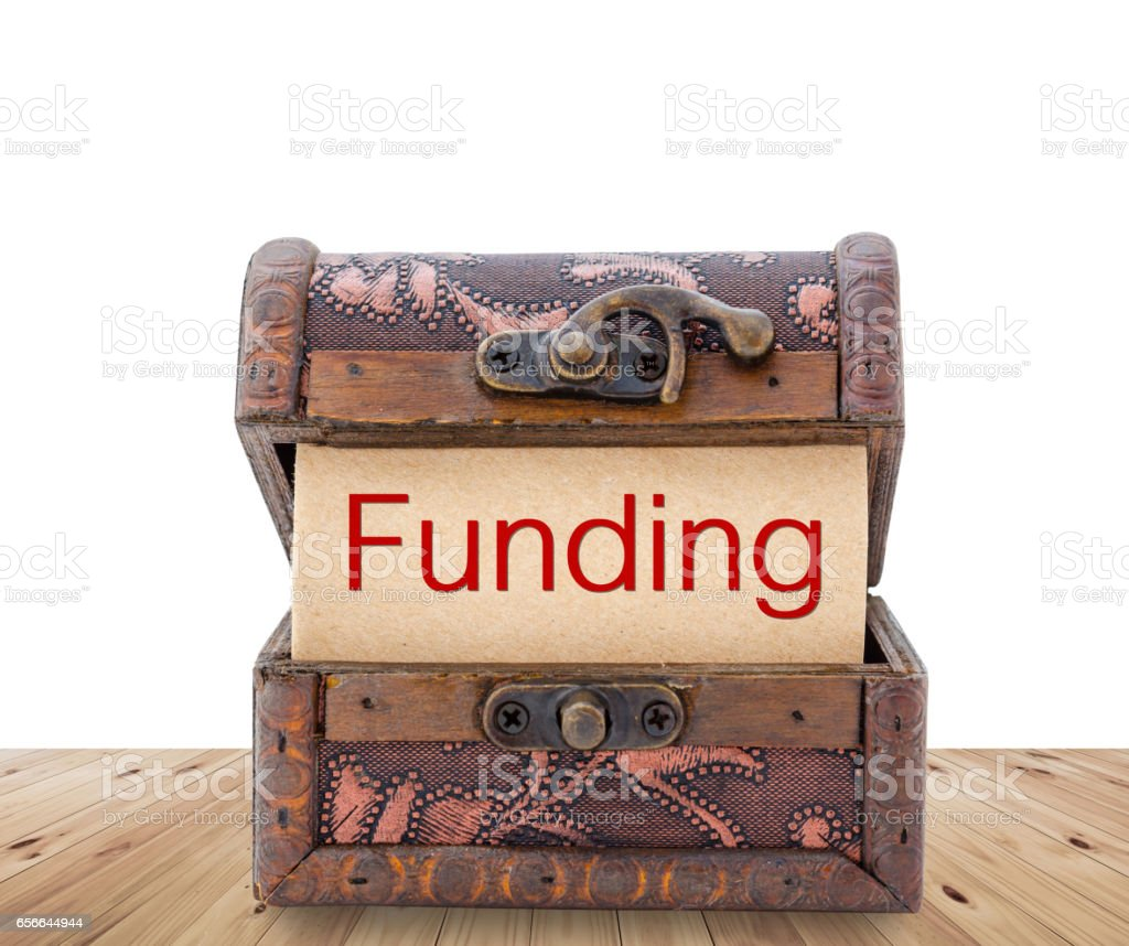 Funding word on paper stock photo