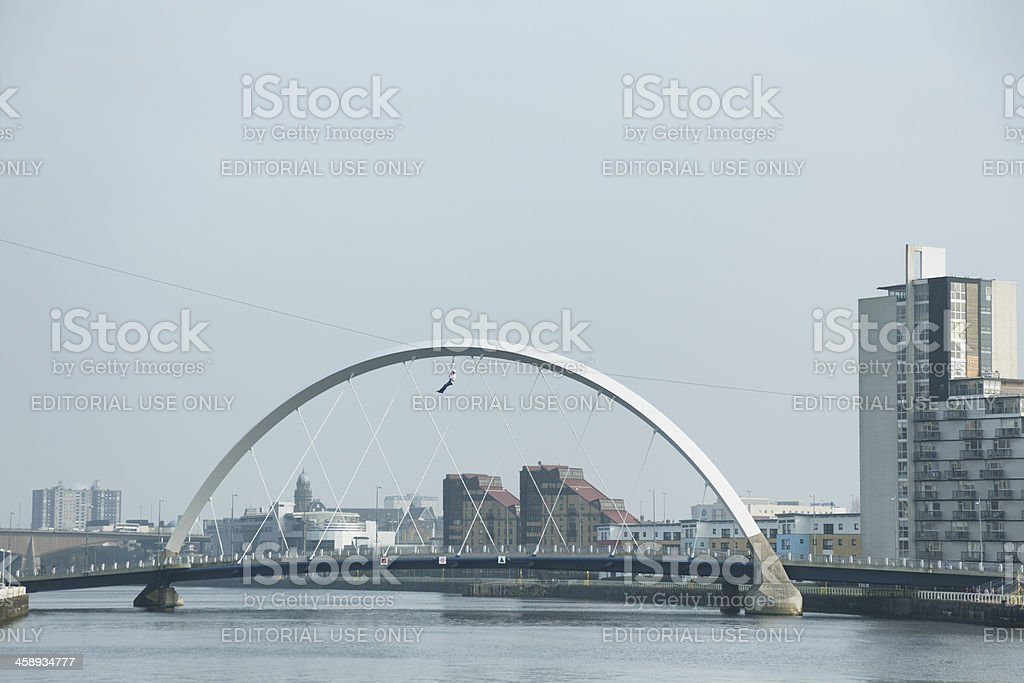 Fundraiser On A Zipline By The Finnieston Bridge royalty-free stock photo