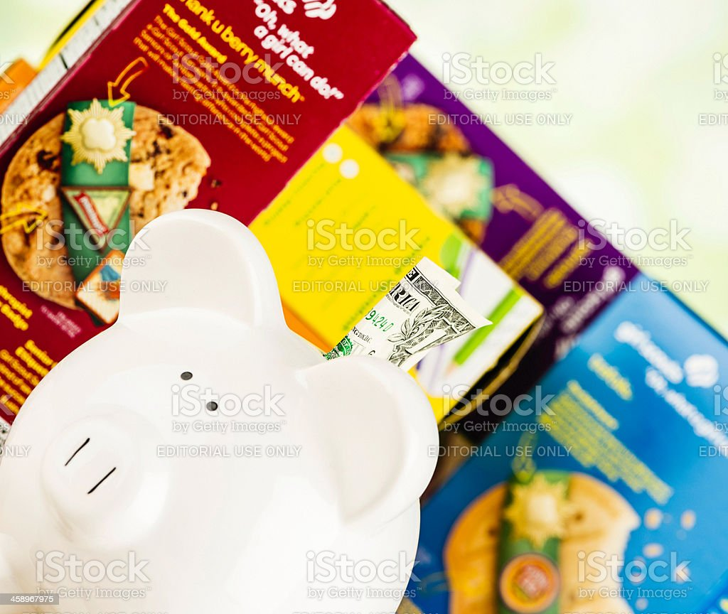 Fundraising with Girl Scout Cookies royalty-free stock photo