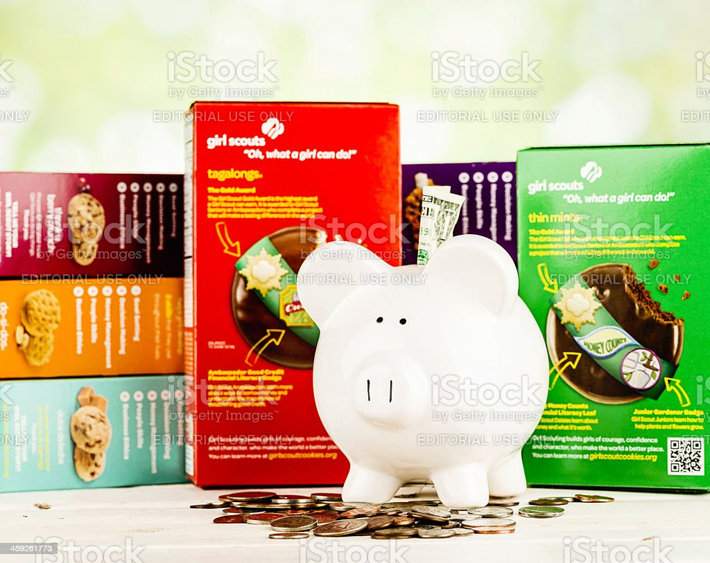 Fundraising with Girl Scout Cookies stock photo
