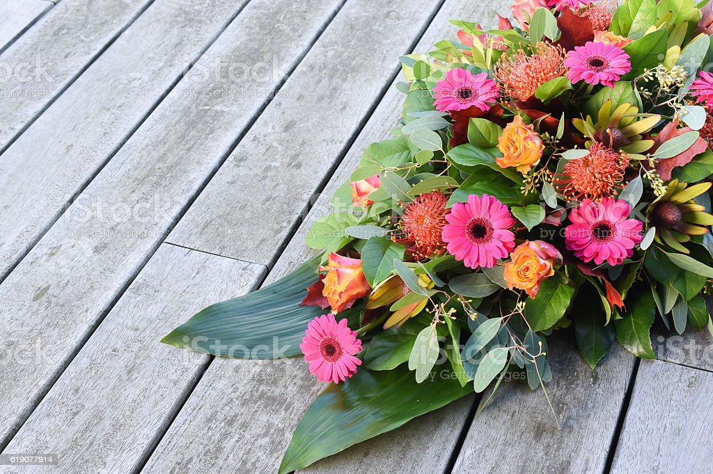 Funeral flowers for condolences. stock photo
