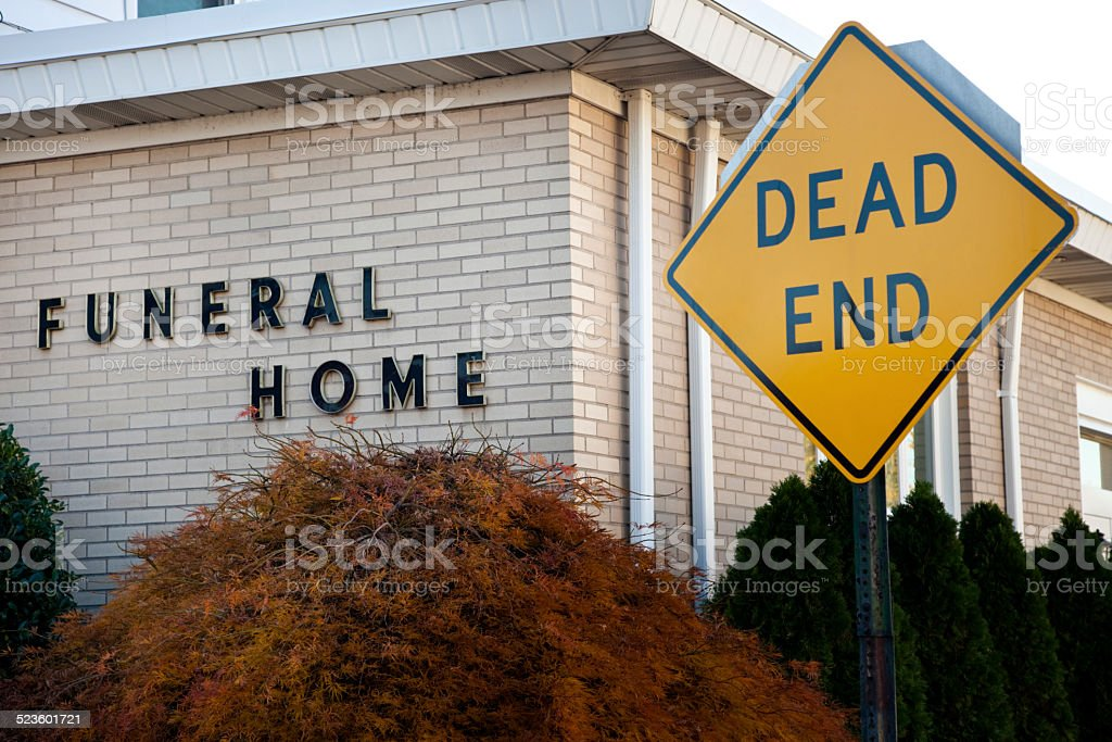 Funeral Home Dead End stock photo