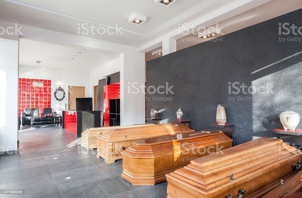 Funeral office with coffins stock photo
