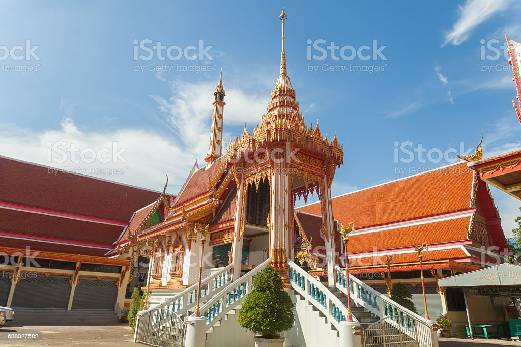 Funeral pyre in temple of Thailand stock photo
