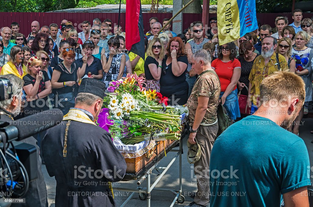 Funeral service of warrior stock photo