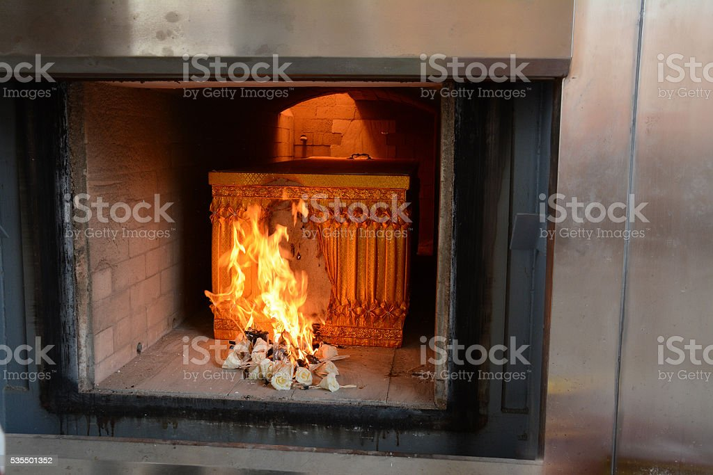 Funeral, The Buddhist Thai cremation chamber stock photo