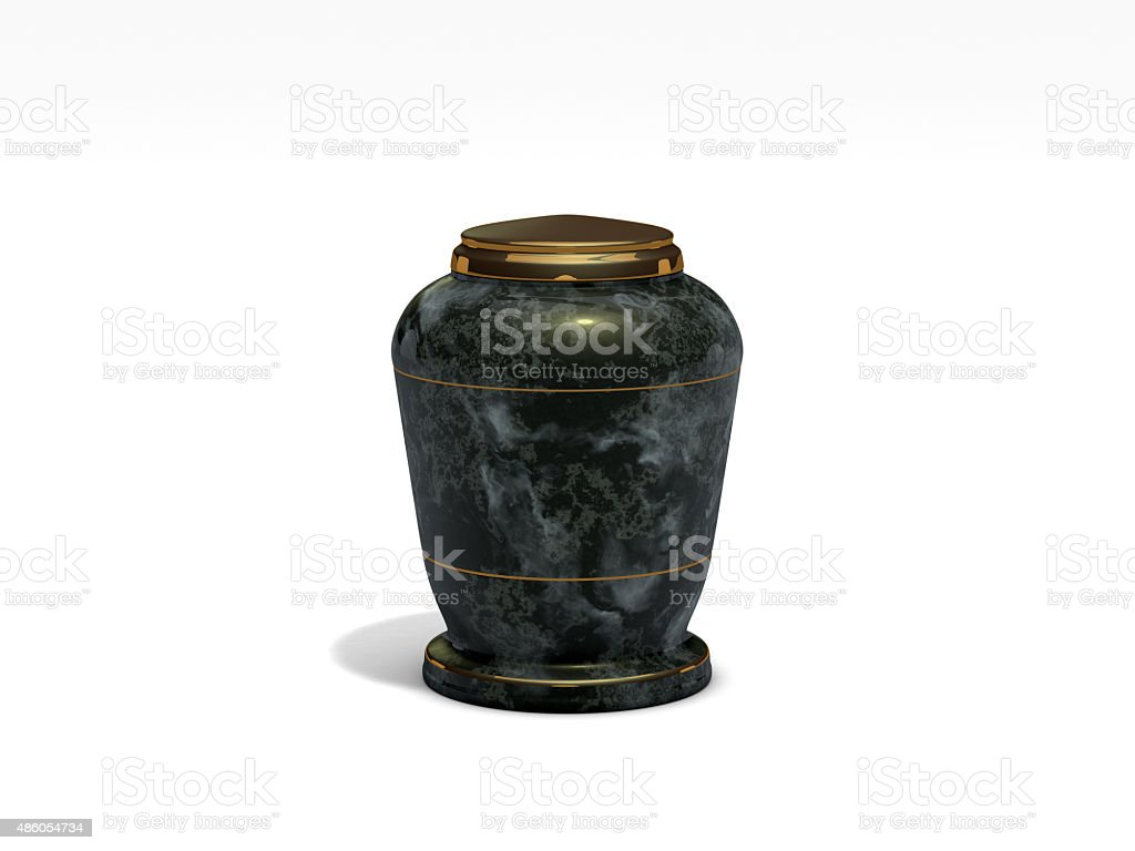 funeral urn on white background stock photo