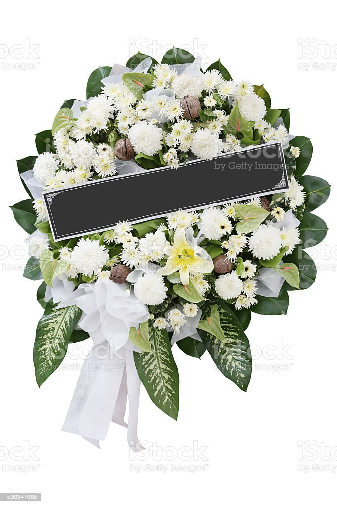 Funeral  Wreath on white background stock photo