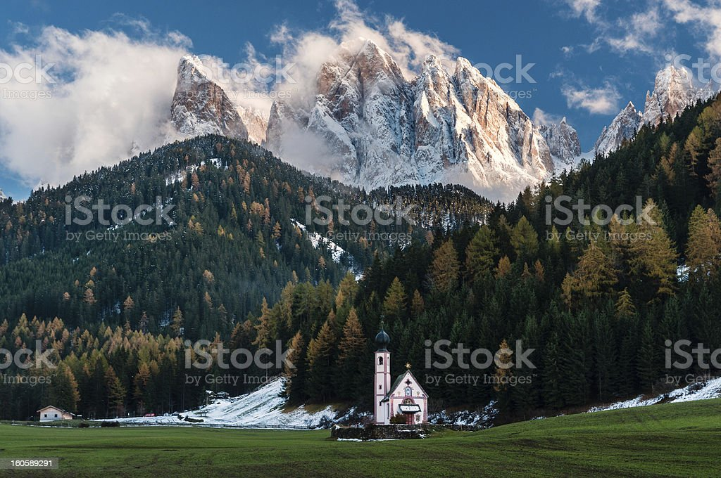 Funes valley stock photo