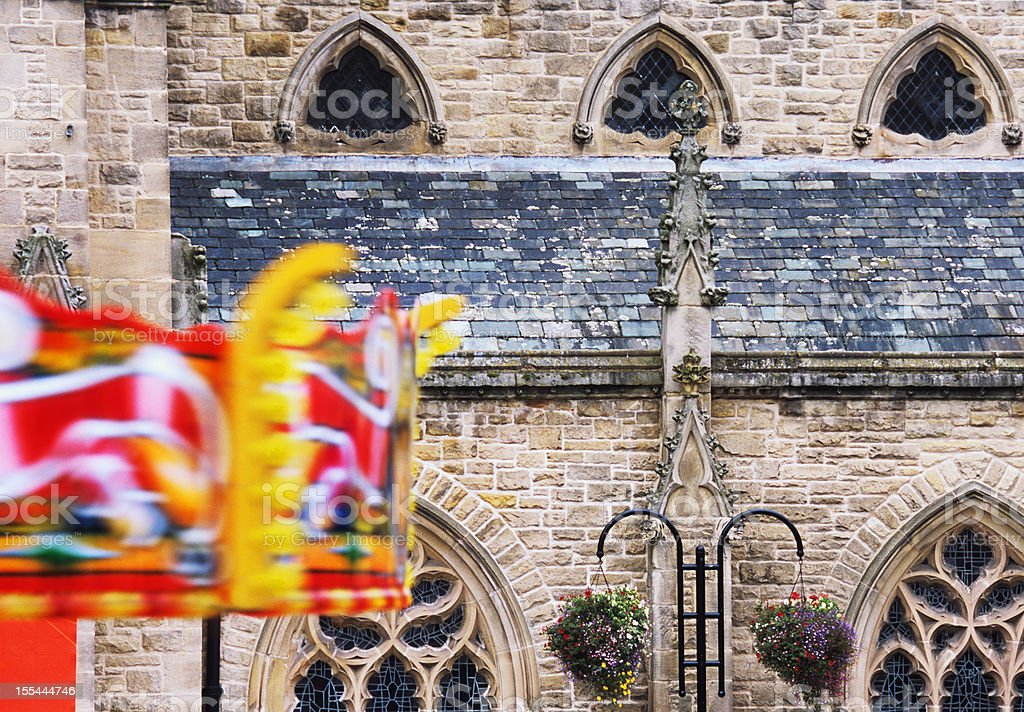 Funfair carousel in town - England royalty-free stock photo