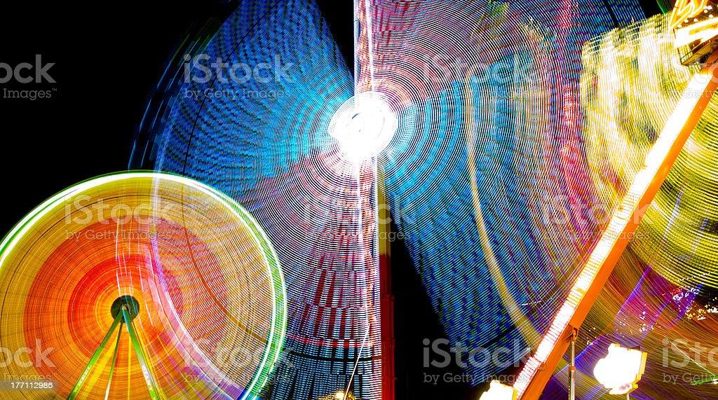 Funfair colour lights stock photo