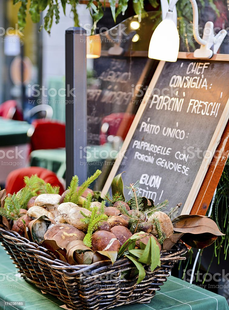 Funghi Porcini displayed at Italian restaurant stock photo
