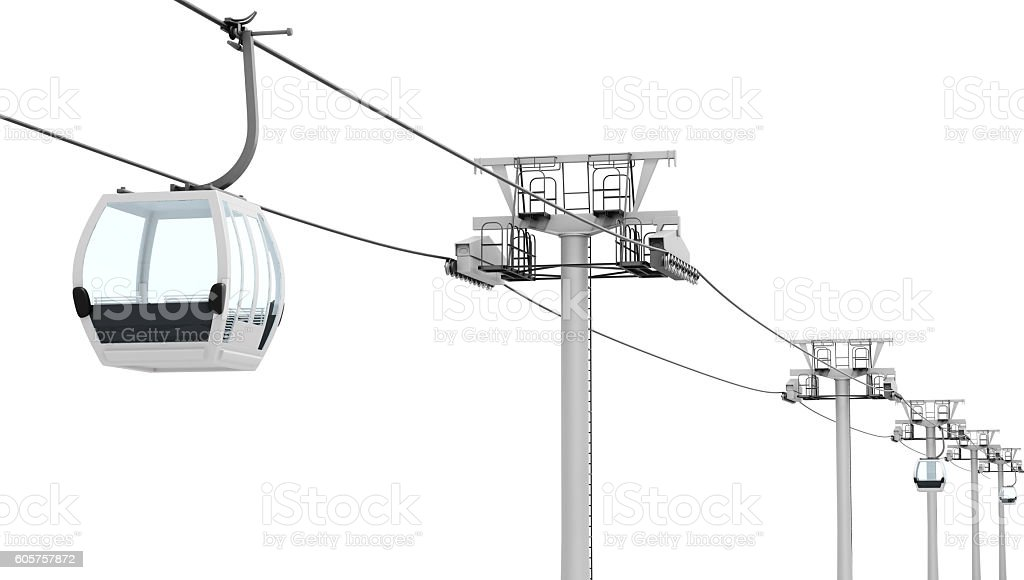 Funicular and cable car isolated on white background. 3d renderi stock photo