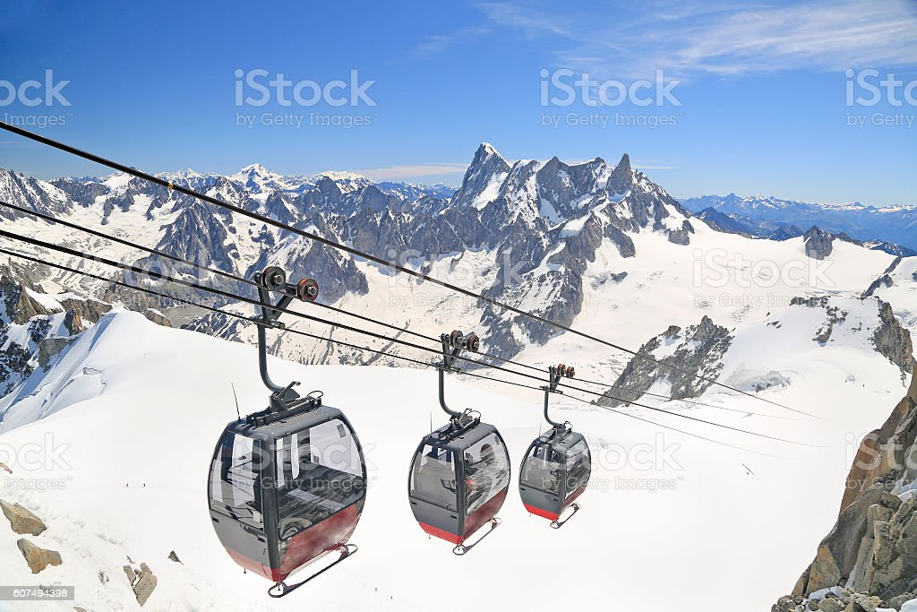Funicular at Aiguille du Midi, French Alps stock photo