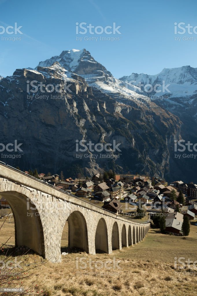 Funicular Bridge in Switzerland stock photo