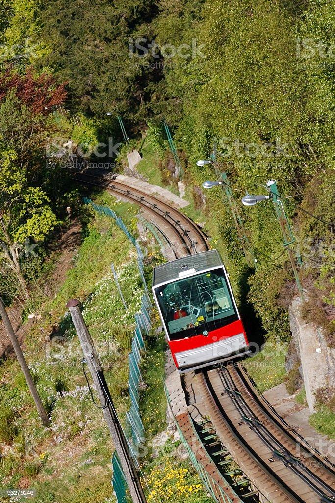 Funicular Climbing Mount Floyen, Bergen, Norway stock photo