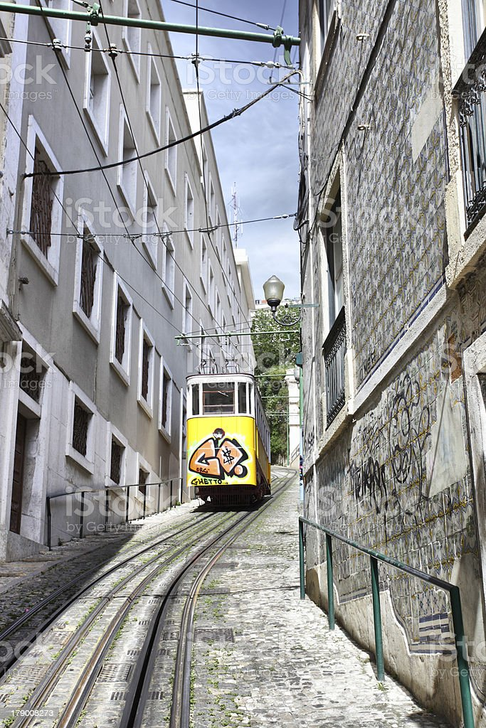 Funicular in Lisbon royalty-free stock photo