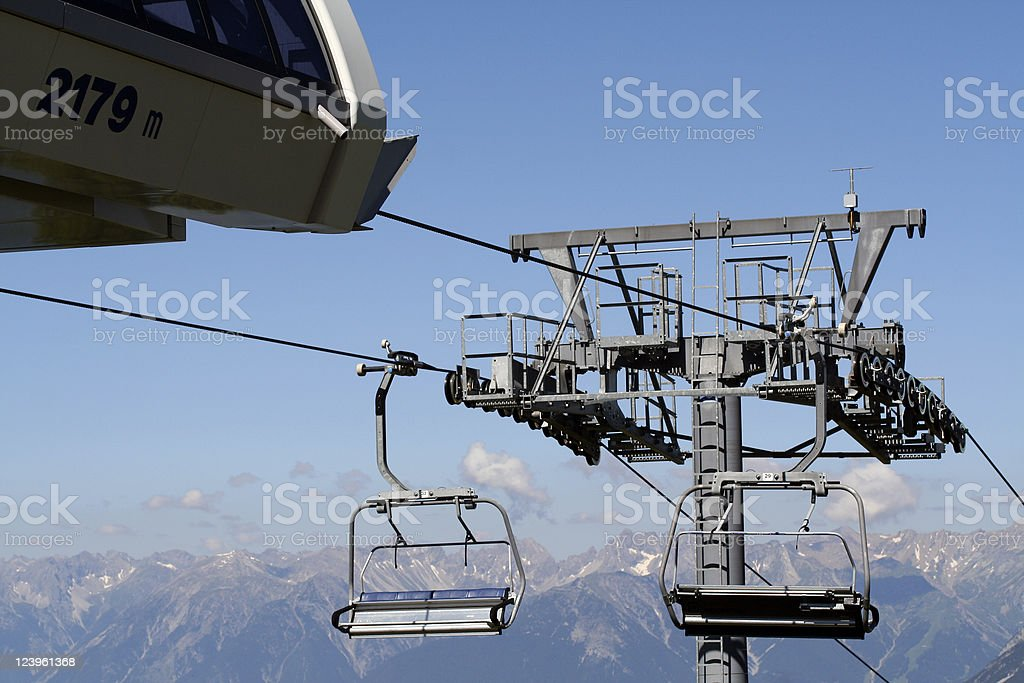 Funicular in the Oetztal Alps stock photo