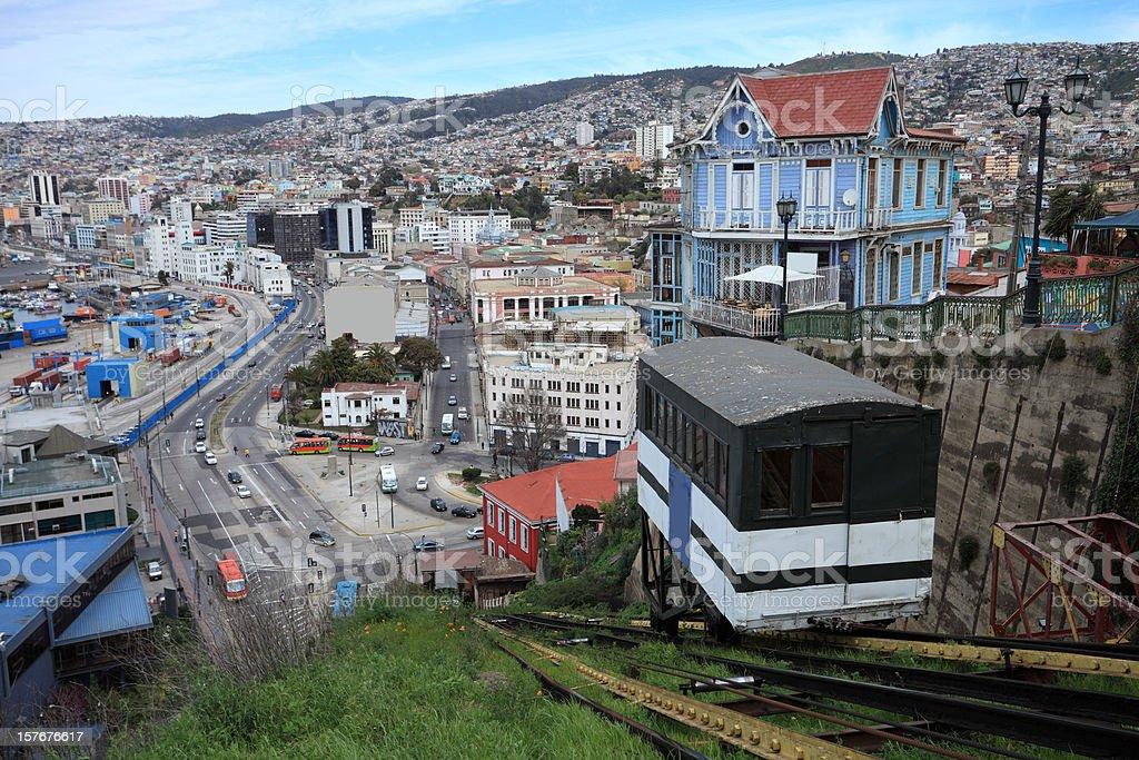 Funicular in Valparaiso stock photo