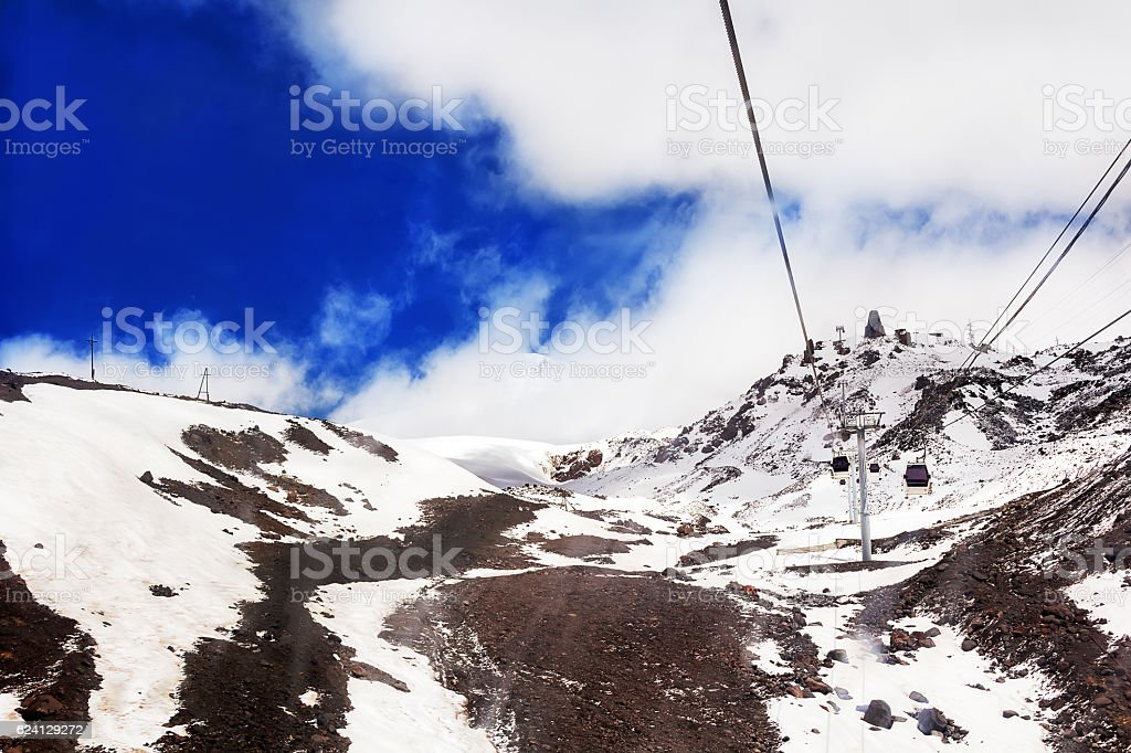 Funicular in white Caucasus mountains stock photo