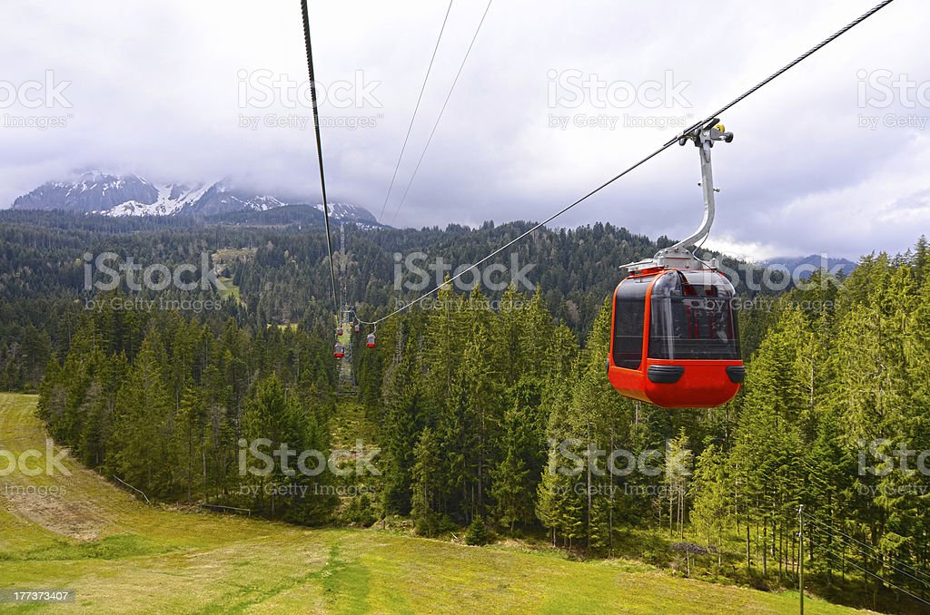 funicular. landscape with a red cable car royalty-free stock photo